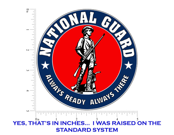 "National Guard Emblem ARNG Logo Vinyl Decal Sticker for Cars Trucks Laptops etc. 5"" Round"