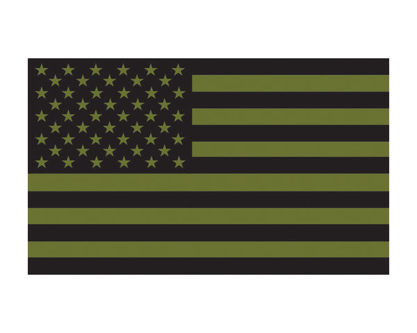 O.D. Green American Flag Military US Flag Vinyl Decal Sticker Cars, Trucks, 3x5