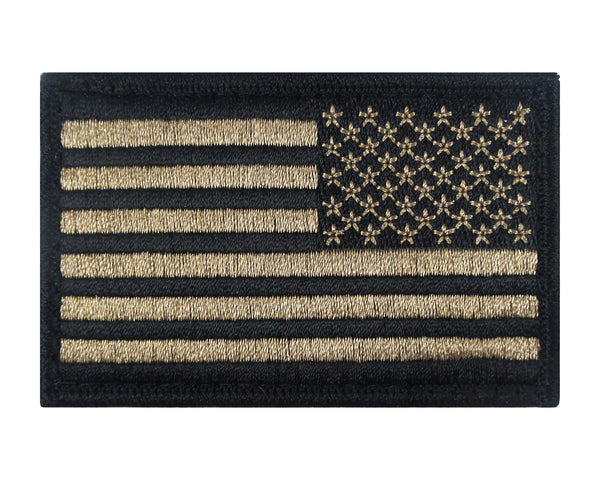 Reverse USA American Flag Tactical Velcro Fully Embroidered Morale Tags Patch