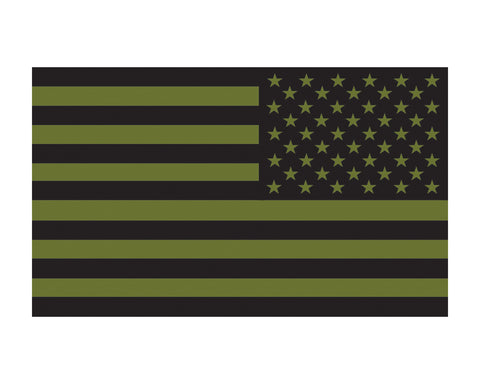 O.D. Green Reverse American Flag Military US Flag Vinyl Decal Sticker Cars, Trucks, 3x5
