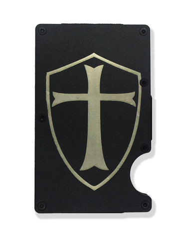 Templar Shield Wallet Custom Engraved RFID Blocking Thin Card Organizer w/ Money Clip