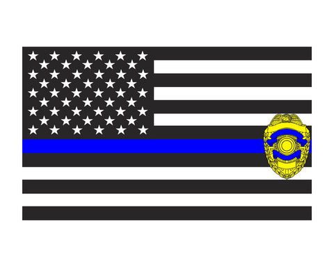 Thin Blue Line w/ Badge American Flag Police Flag 3x5 Vinyl Decal Sticker for Cars Trucks Laptops etc...