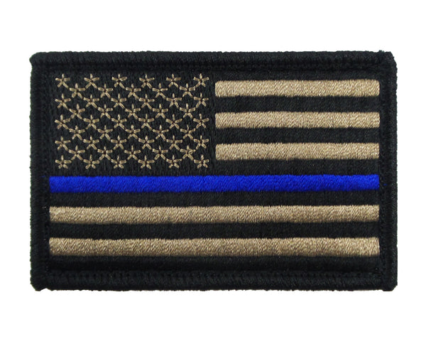 USA American Thin Blue Line Police Flag Tactical Velcro Fully Embroidered Morale Tags Patch