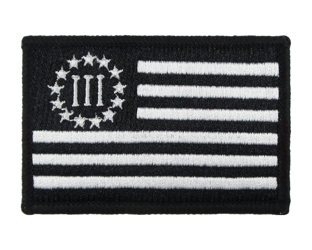Three Percent United States Flag Embroidered Velcro Morale Tags Patch