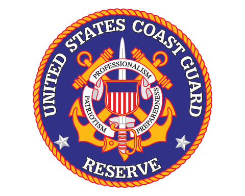 "Coast Guard Reserve Emblem USCG Reserve Logo 5"" Round Vinyl Decal Sticker for Cars Trucks Laptops etc..."