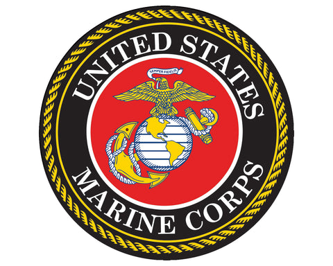 "United States Marine Corps Seal USMC Emblem 5"" Round Vinyl Decal Sticker for Cars Trucks Laptops etc..."