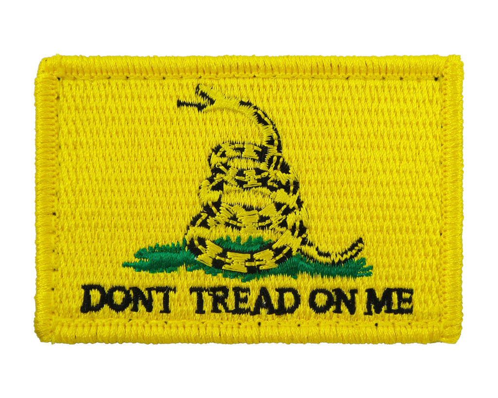 Gadsden Flag Dont Tread On Me Tactical Velcro Fully Embroidered Morale Tags Patch - Yellow