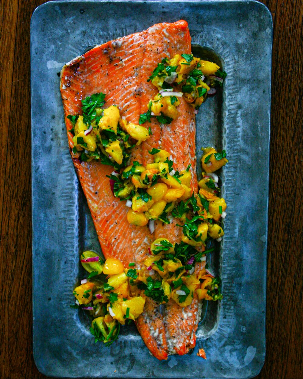 Cory Walby-GRILLED COHO SALMON WITH WARM PEACH SALSA