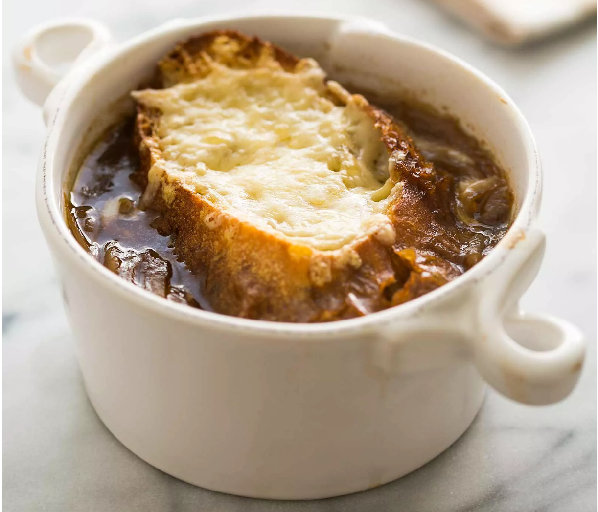 French Onion Soup with Cheese-Topped Croutons