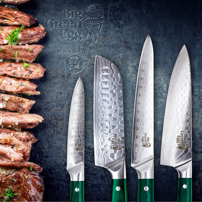 Big Green Egg - 4 Piece Professional 45 LAYER Damascus Chef's Knife Set + FREE WOODEN GIFT BOX WORTH $50