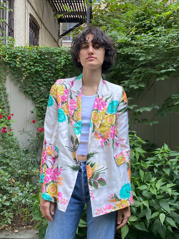 Alix of Bohemia Georgina Acid Floral Silk Blazer