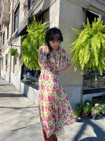 Vintage YSL Floral Chiffon Dress