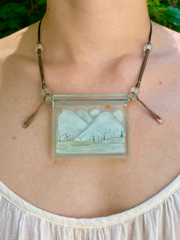 KC Vintages Higgins Landscape Fused Glass Necklace