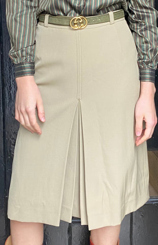 Vintage Gucci Khaki Wool Skirt