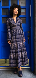 Alix of Bohemia Daphne Navy Paisley Dress