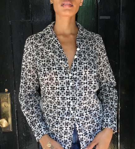 Vintage Lanvin Cotton Geometric Print Shirt