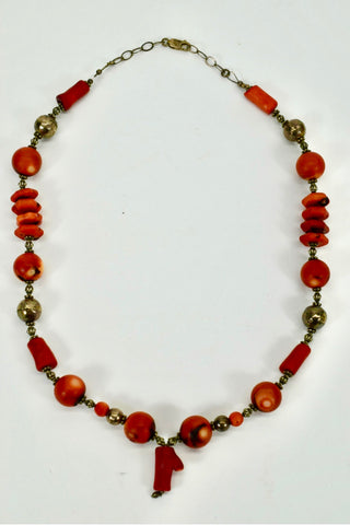Vintage Red Coral and Silver Bead Necklace