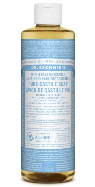 Dr. Bronner's 18-IN-1 PURE CASTILE LIQUID SOAP BABY UNSCENTED