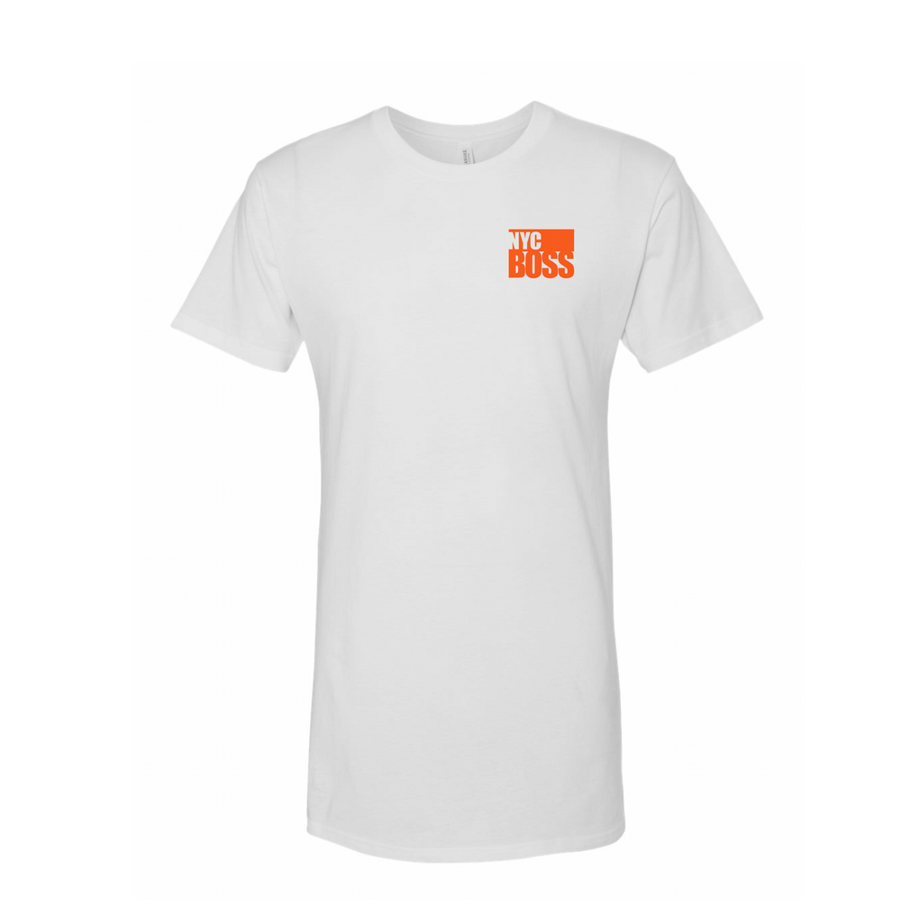 NYCBOSS Mens/Unisex Long Tee White