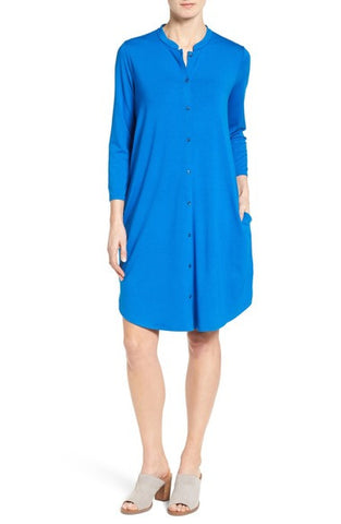 Mandarin Collar Jersey Shirtdress (Regular & Petite)