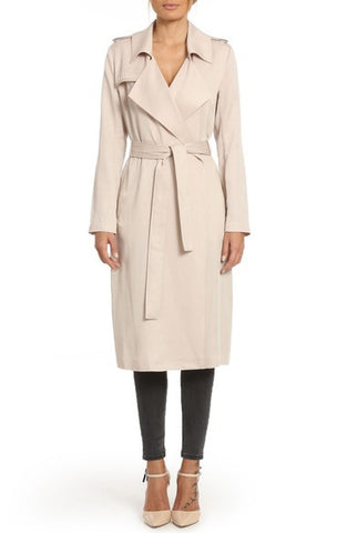 Faux Leather Trim Long Trench