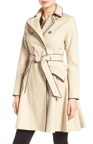 Piped Belted A-Line Macintosh Coat