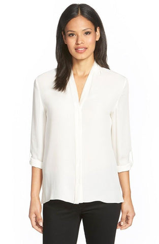 'Anabella' V-Neck Silk Blouse