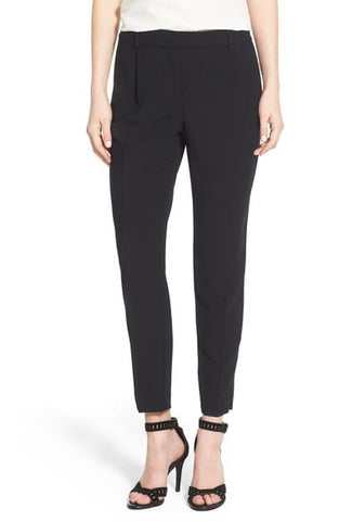High Rise Pleat Front Crop Pants