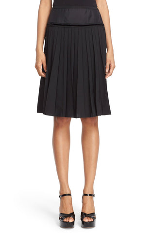 Pleated Wool Blend A-Line Skirt