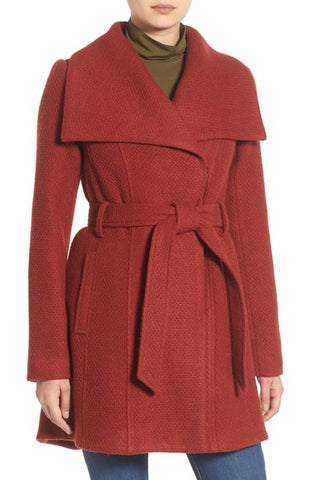 Belted Waffle Woven Coat