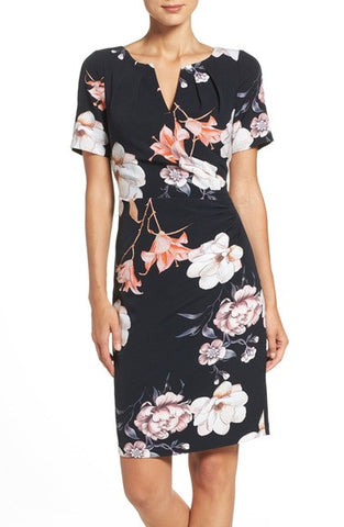 Pleated Floral Sheath Dress
