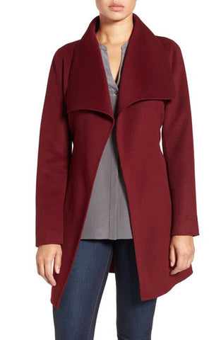 Tahari 'Ella' Belted Double Face Wool Blend Wrap Coat