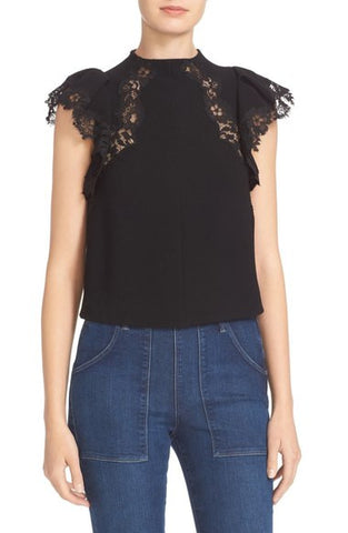 Cap Sleeve Lace Trim Crepe Top