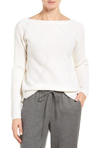 High/Low Boatneck Cashmere Sweater