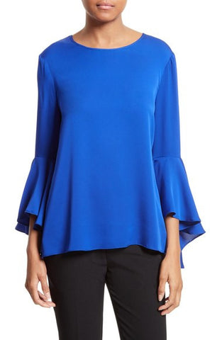 Bell Sleeve Stretch Silk Blouse