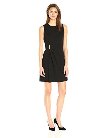 Sleeveless Round Neck Sheath Dress with Draped Skrt