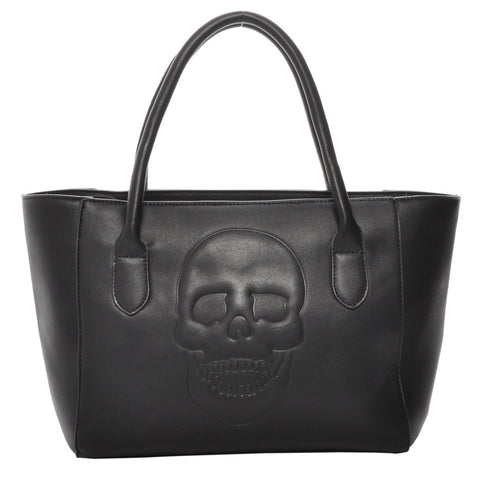 Mechaly Skully Black Vegan Leather Skull Tote Handbag