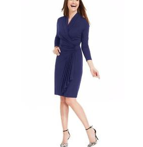 Cascade Faux Wrap Dress