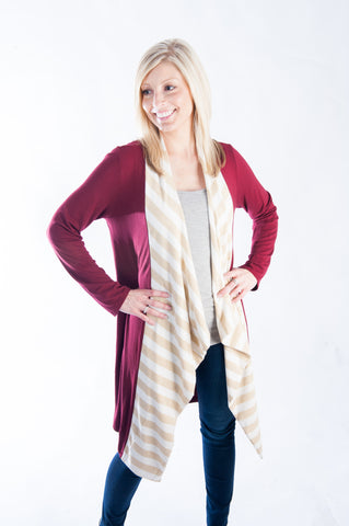 The Cardigan - Garnet & Gold
