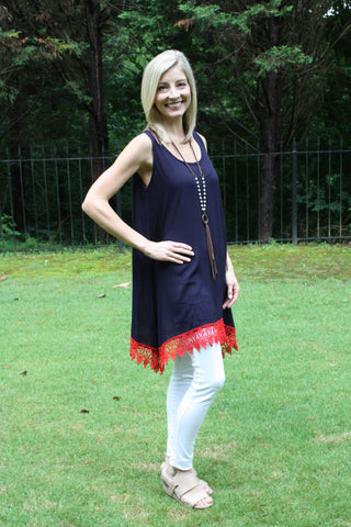 Sleeveless Lace-up - Navy & Red
