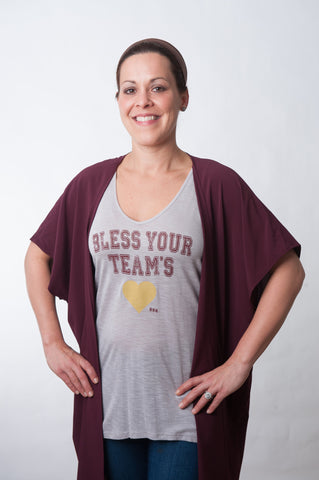 Bless Your Team Tank - Garnet & Gold