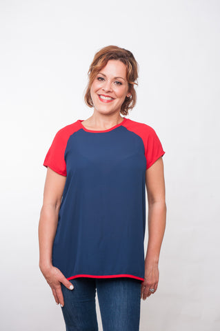 Block Blouse - Navy & Red