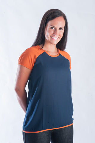 Block Blouse - Navy & Orange