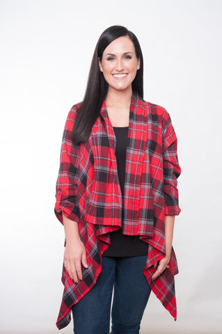 Checked Down Cardigan - Red & Black
