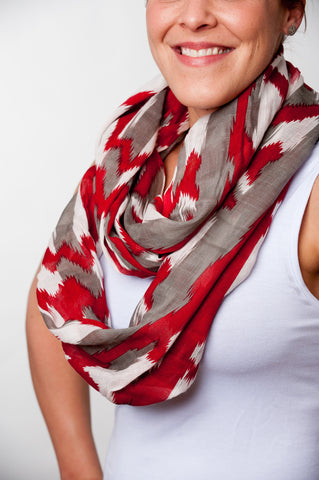 3 Color Aztec Scarf - Crimson, Grey, and White