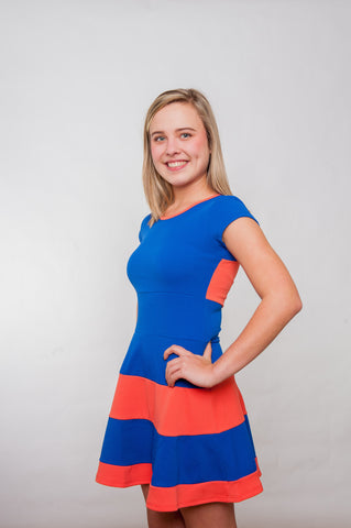 Field Goal Dress - Royal & Orange