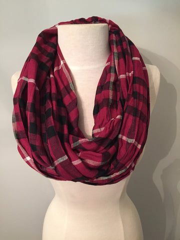 3 Color Plaid Scarf - Garnet, Black and White