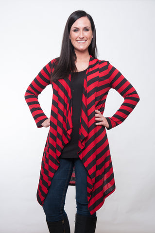 The Cardigan - Red & Black