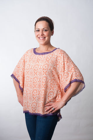 Gameday Poncho - Orange & Purple