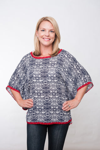 Gameday Poncho - Navy & Red